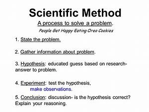 Scientific Method A process to solve a problem. State the ...