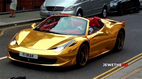 chrome gold ferrari  spider cruising  london