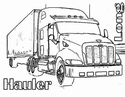 Coloring Truck Semi Pages Wheeler Four Trucks