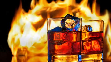 wallpaper whiskey fire ice  food