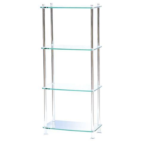 Glass Shelf Etagere by 4 Shelf Modern Glass And Chrome Etagere 75 Ebay