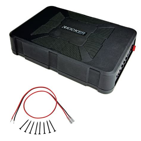sub installation kit kicker hs8 8 inch powered hideaway sub subwoofer package with screw install kit