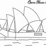 Opera Coloring Sydney Sidney Australia Drawing Famous Cartoon Ready Drawings Designlooter Decoration Emu sketch template