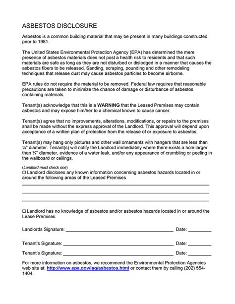 asbestos disclosure ez landlord forms