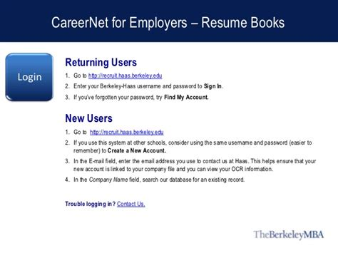 Berkeley Haas Resume by Careernet For Employers Resume Books