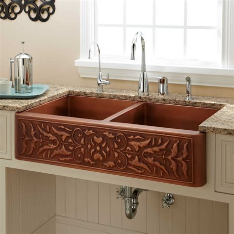 hammered copper farmhouse kitchen sinks 42 quot fiona bowl hammered copper farmhouse sink kitchen 6976