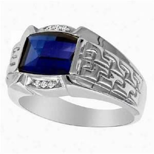 Blue Sapphire Baguette White Gold Diamond Ring - 14k White ...