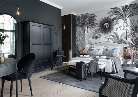 papier peint imprime jungle noir  blanc  paradise