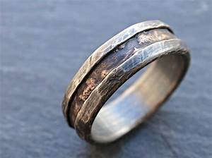 cool mens ring bronze unique wedding band bronze silver mens With cool wedding rings mens