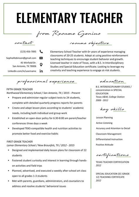 elementary teacher resume samples writing guide resume