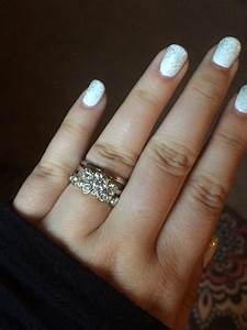 Can i see your wedding band with 3 stone engagement rings for Engagement ring with two wedding bands