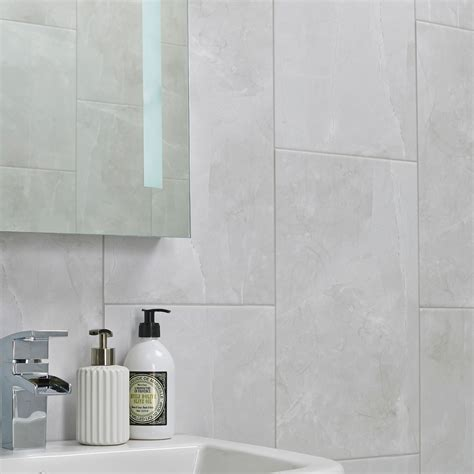 kitchen wall tiles b q arlington marble mist effect high definition ceramic 6451