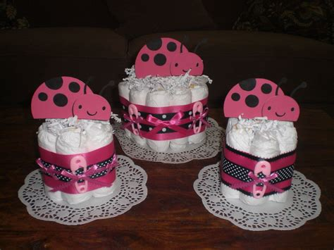 Lady Bug Diaper Cake Baby Shower Centerpieces Hot Pink And