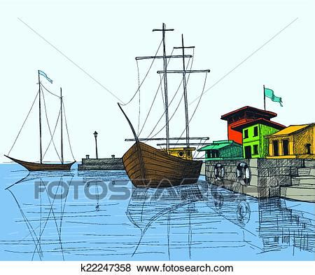 Dessin Bateau Au Port by Clipart Bateaux P 234 Che Dans Port Illustration