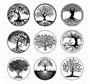 Tree of Life, Black and White Tree Clipart, Digital ...