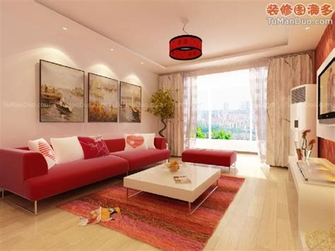 Beige Living Room Designs : Cute Decorate Beige Living Room Design Ideas With Red Sofa
