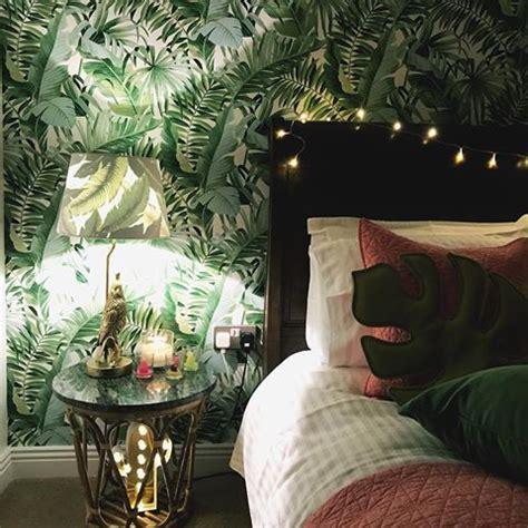 french drum tropical banana leaf silhouette lampshade