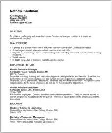 hr manager objectives for resume human resources manager resume exle free templates collection