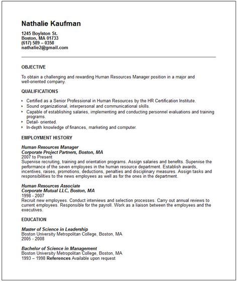 Human Resource Management Objective For Resume by Human Resources Manager Resume Exle Free Templates Collection