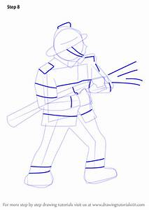 Learn How To Draw A Firefighter Other Occupations Step