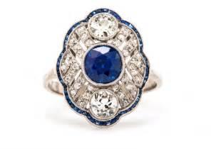 Antique Diamond Sapphire Engagement Ring