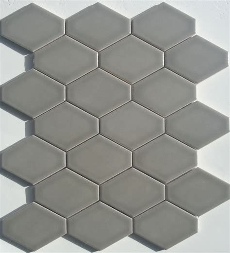 elongated hex tile lyric lounge collection elongated hex tile plane in dove gray