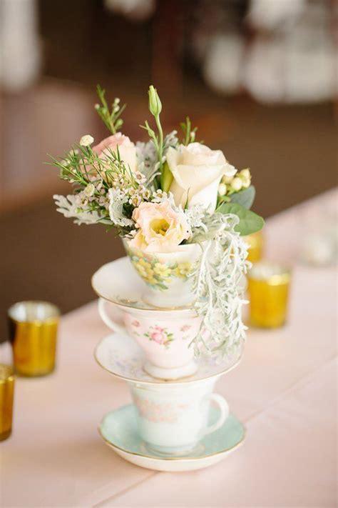 shabby chic vintage tea cup wedding centerpiece idea