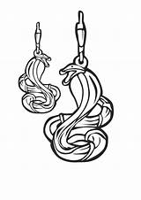 Coloring Earrings Snake Jewelry Cobra Template sketch template