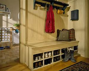 Shoe Storage Bench Entry Traditional With Beadboard Built