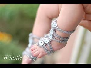 Baby Gladiator Barefoot Sandals Crochet Pattern - YouTube ...