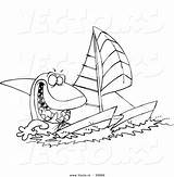 Shark Catamaran Coloring Cartoon Outline Sailing Toonaday sketch template
