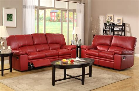 leather look sofa set homelegance kendrick reclining sofa set red bonded
