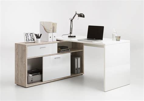 bureau d angle laqué blanc bureau d 39 angle contemporain chêne blanc laqué
