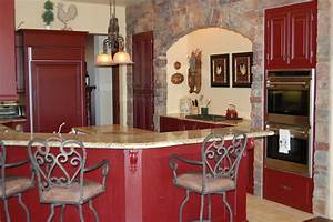 french country red kitchen mediterranean kitchen san With best brand of paint for kitchen cabinets with wall art san francisco