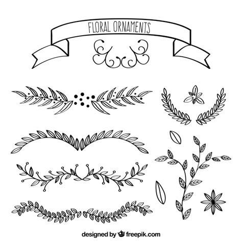 Colección de ornamentos con flores y hojas dibujadas a