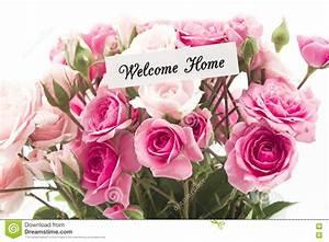 Powitanie Domu Karta Z Bukietem Różowe Róże Obraz Stock ...