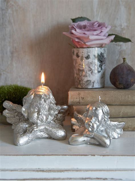Vintage Silver Cherub Candle   Nordic House