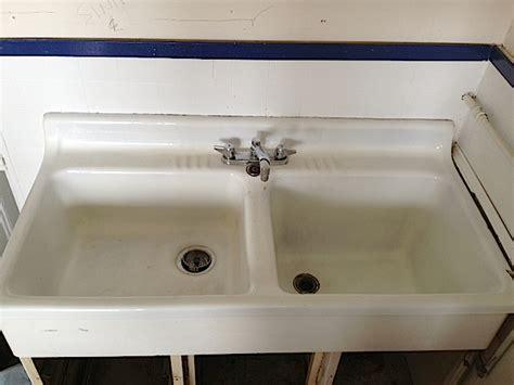 Vintage Double Basin Porcelain Over Cast Iron Farm House Sink