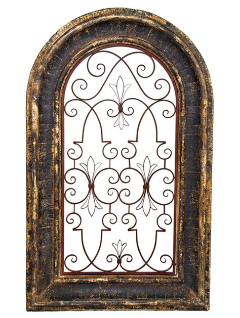 Tuscan Wall Decor Metal by Arched Window Wooden Wall Frame With Iron Decor In