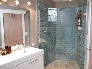 Frosted Glass Subway tile, ikea vanity, river stone shower ...