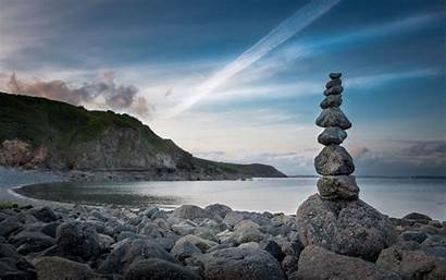 Balance Blocks Stones Sky Background Porthallow Beach