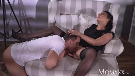 Mom Busty Sexy French Milf In Black Stockings Lingerie