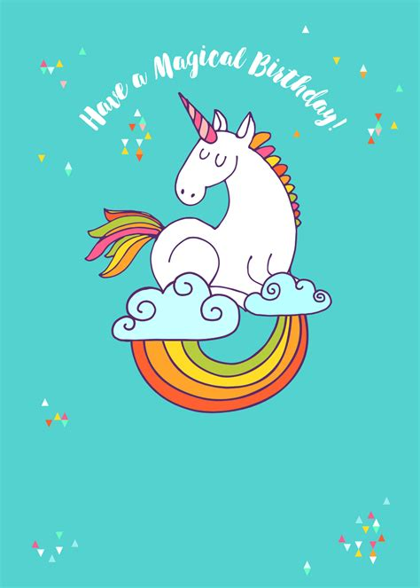 colourful unicorn birthday card  island