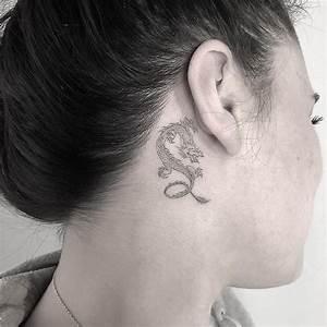 Little 🐉 dragon tattoo behind ear | Dragon tattoo behind ...