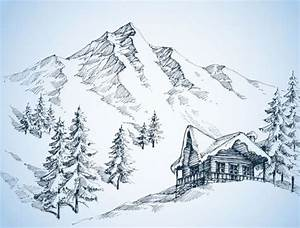 Drawn landscape snow mountain - Pencil and in color drawn ...