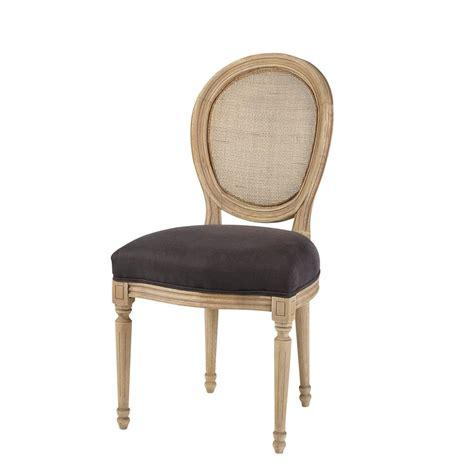 chaise medaillon cannee en lin noir louischaise medaillon noir xxcm maisons du monde