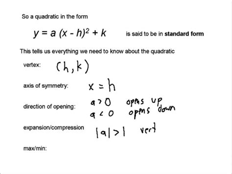 equation of a quadratic function in standard form youtube
