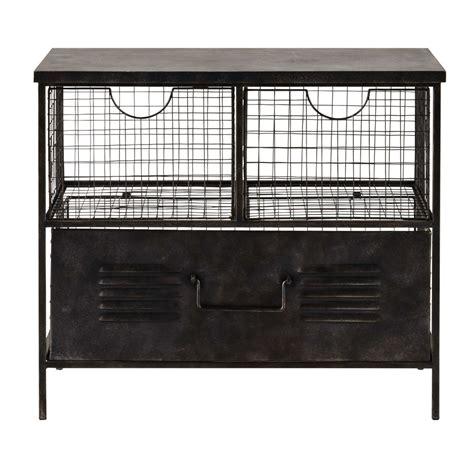de rangement metal meuble de rangement en m 233 tal noir l 66 cm etienne maisons du monde
