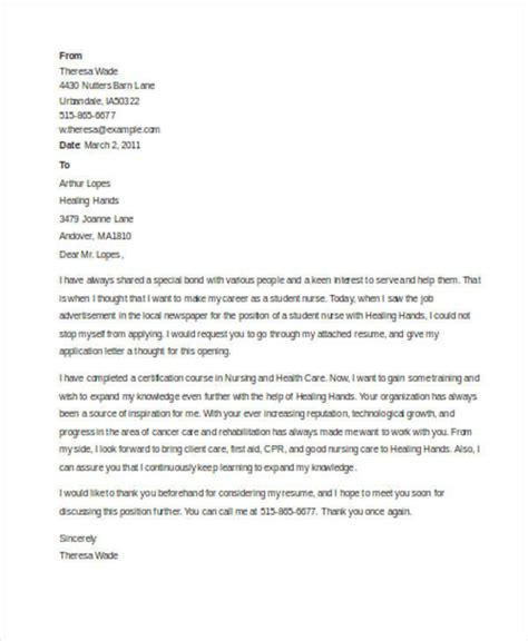 nursing student cover letters examples  word