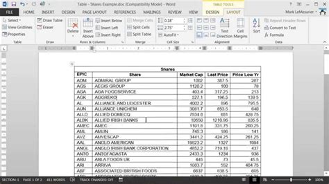 Table Within A Table by Ms Word Tables How To Repeat A Header Row Within A